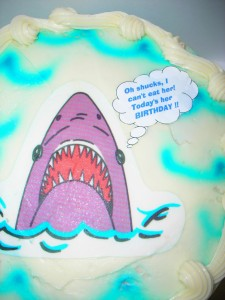 """When my mom asked what I wanted on my cake, I tested her by saying, """"a shark."""" Well, BJ came through. And even added her own personalized thought bubble."""